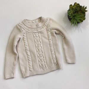 Gap Kids Cable Knit Cream Sequin Sweater